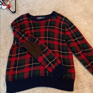 Plaid sweater with suede elbow patches